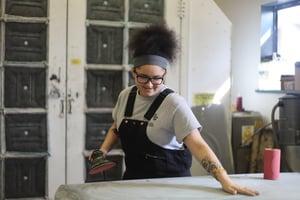 woman preparing workspace