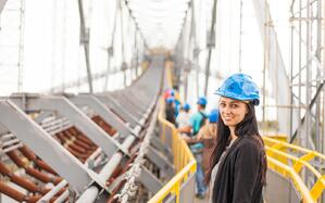 woman supervising on industrial work site