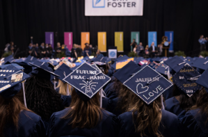 Graduates sitting at the 2019 graduation ceremony.