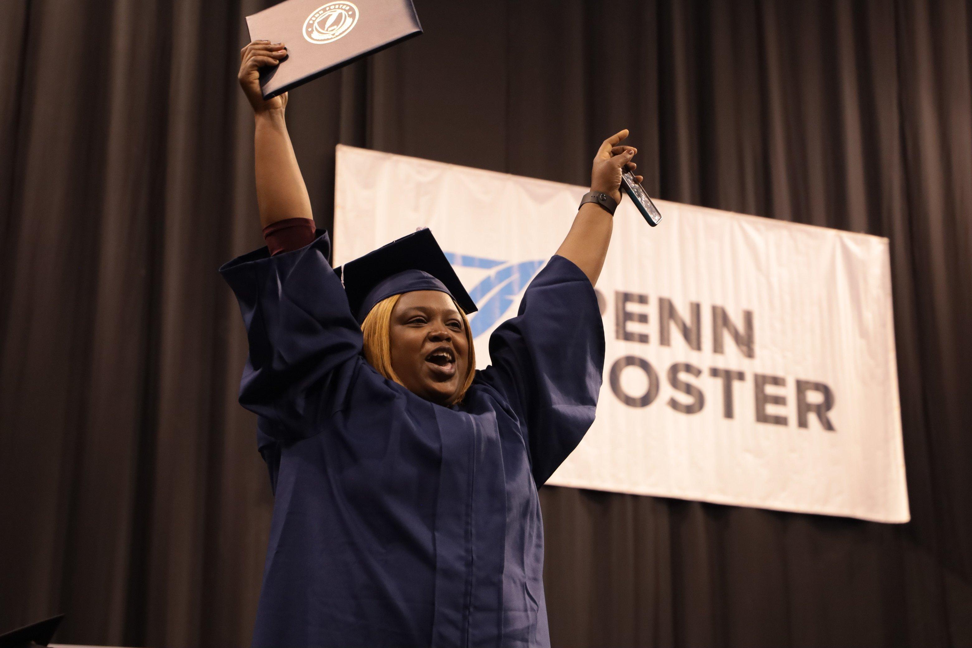 Penn Foster graduate celebrating