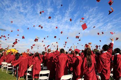 High School Grads Throwing Caps