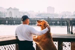 man and dog on a bridge.